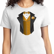 Gold Vest Tuxedo Ladies Shirts