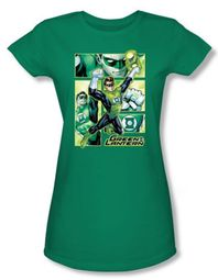 Green Lantern Juniors Shirt Panels Justice League Kelly Green Tee
