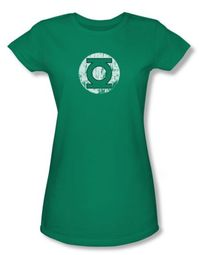 Green Lantern Juniors T-shirt Distressed Lantern Logo Kelly Green Tee