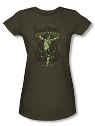 Green Lantern Juniors T-shirt Fearless Army Green Girly Tee