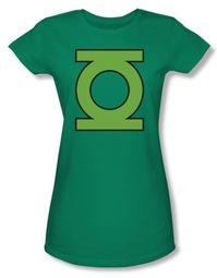 Green Lantern Juniors T-shirt Gl Emblem Girly Kelly Green Tee