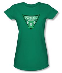 Green Lantern Juniors T-shirt - Green Lantern Shield Kelly Green Tee