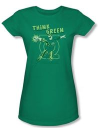 Green Lantern Juniors T-shirt Think Green Girly Tee Kelly Green