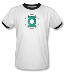 Green Lantern Ringer T-shirt Distressed DC Comics White/Black Tee