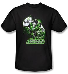 Green Lantern Shirt Green and Gray Justice League Black Tee