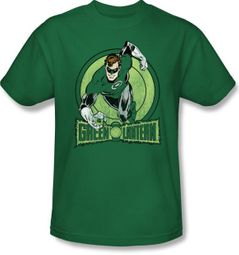 Green Lantern Superhero T-shirt - Flying DC Comics Kelly Green Tee