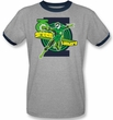 Green Lantern Superhero T-shirt - Gray/Black Adult Ringer Tee