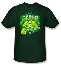 Green Lantern Superhero T-shirt - Green Flames Adult Hunter Green Tee