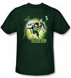 Green Lantern Superhero T-shirt - Lantern Burst Hunter Green Adult Tee