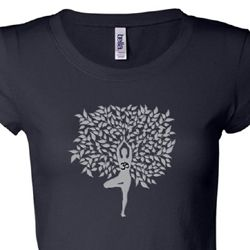 Grey Tree Pose Ladies Yoga Shirts