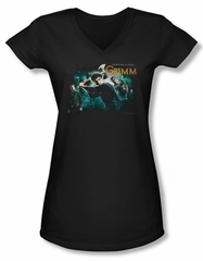 Grimm Shirt Juniors V Neck Storytime Is Over Black Tee T-Shirt