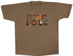 Guitarist T-shirt - Adult Soft Brown Tee Shirt