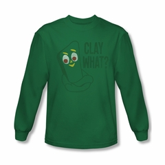 Gumby Shirt Clay What Long Sleeve Kelly Green Tee T-Shirt
