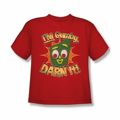 Gumby Shirt Kids Darn It Red T-Shirt