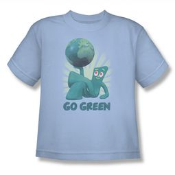 Gumby Shirt Kids Go Green Light Blue T-Shirt