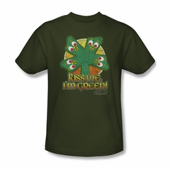 Gumby Shirt Kiss Me Olive Green T-Shirt