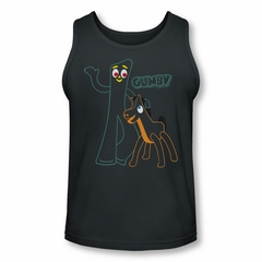 Gumby Shirt Tank Top Outlines Charcoal Tanktop