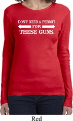 Guns Permit Ladies Long Sleeve Shirt