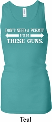 Guns Permit Ladies Longer Length Racerback Tank Top