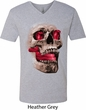 Halloween Cobra Skull Mens V-Neck Shirt