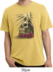 Halloween Day of the Dead Candle Skull Dijon Pigment Dyed Shirt