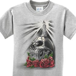 Halloween Day of the Dead Candle Skull Kids Shirt