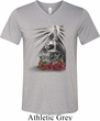 Halloween Day of the Dead Candle Skull Mens Tri Blend V-neck Shirt