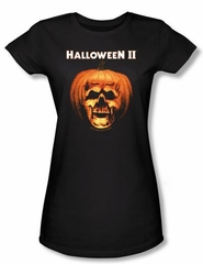 Halloween II Juniors T-shirt Movie Skull Pumpkin Shell Black Tee Shirt