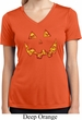 Halloween Jack O Lantern Skull Ladies Moisture Wicking V-neck Shirt