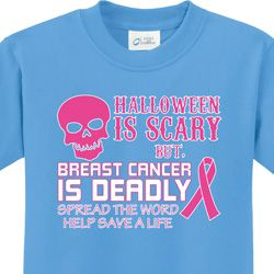 Halloween Scary, Breast Cancer Deadly Kids Breast Cancer Awareness Shirts