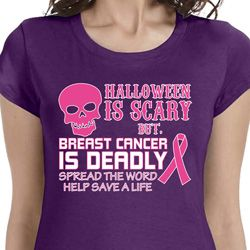 Halloween Scary, Breast Cancer Deadly Ladies Breast Cancer Awareness Shirts