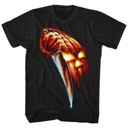 Halloween Shirt Pumpkin Knife Black T-Shirt