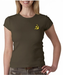 Hammer and Sickle Ladies Crewneck Shirt Yellow Logo Pocket Print