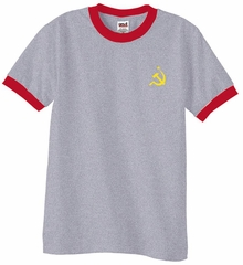 Hammer and Sickle Shirt Yellow Logo Pocket Print Ringer Shirt
