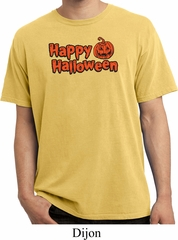 Happy Halloween with Pumpkin Pigment Dyed T-shirt
