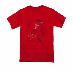 Harley Quinn Shirt Faded Sketch Red T-Shirt