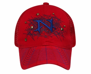 Hat with Mesh Back Lackpard 3D N with Silver Studs Red Cap
