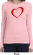 Heart Outline Ladies Long Sleeve Shirt