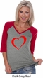 Heart Outline Ladies Three Quarter Sleeve V-Neck Shirt