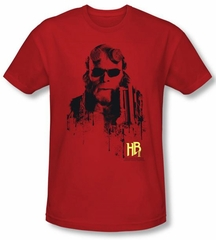 Hellboy II  T-shirt The Golden Army Splatter Gun Red Slim Fit Shirt