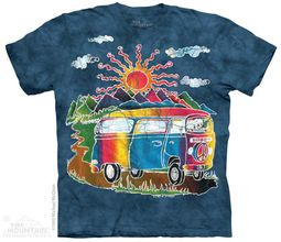 Hippie Tour Bus Shirt Tie Dye Adult T-Shirt Tee