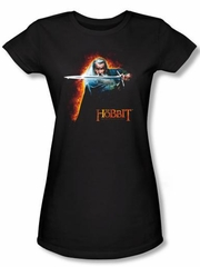 Hobbit Juniors Shirt Movie Unexpected Journey Loyalty Fire Black Tee