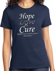 Hope Love Cure Carcinoid Cancer Ladies T-shirt