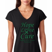 Hope Love Cure Liver Cancer Awareness Ladies Shirts