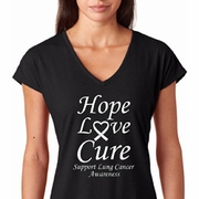 Hope Love Cure Lung Cancer Ladies Shirts