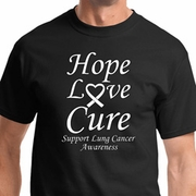 Hope Love Cure Lung Cancer Mens Shirts