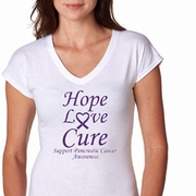 Hope Love Cure Pancreatic Cancer Ladies Shirts