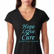 Hope Love Cure Prostate Cancer Awareness Ladies Shirts