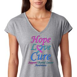 Hope Love Cure Thyroid Cancer Awareness Ladies Shirts