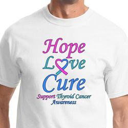 Hope Love Cure Thyroid Cancer Awareness Mens Shirts